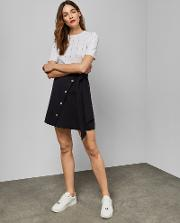 Tie Waist Button Detail Mini Skirt