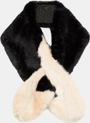 Two Tone Detail Faux Fur Scarf