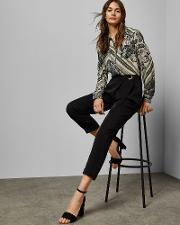 Wrap Front Belted Trousers