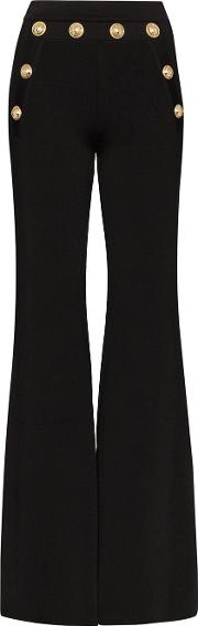 Button Embellished Flared Trousers