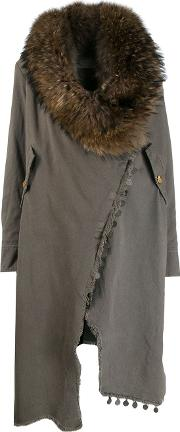 Fox Fur And Cotton Fur Collar Wrap Around Coat