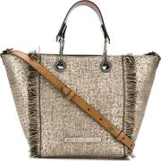 Lurex Shopping Tote With Leather Strap