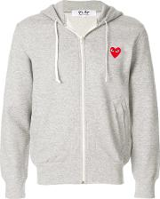 Zipped Hoodie With Red Heart