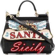 Miss Sicily Leather Shoulder Bag With Patch