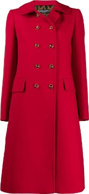 Wool Crepe Coat With Decorated Buttons