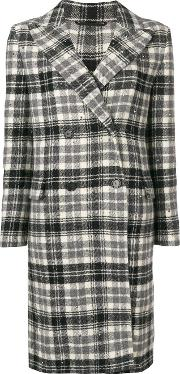 Wool Check Double Breasted Coat