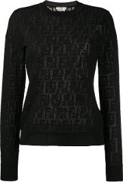 Cotton Blend Jacquard Knit Ff Logo Sweater