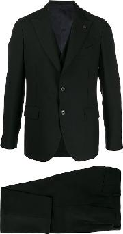 Cotton Blend Fitted Two Piece Suit