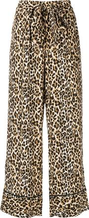 Leopard Print Silk Trousers