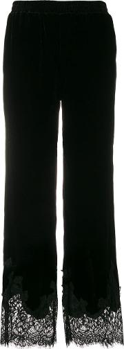 Velvet Trousers With Lace Datail