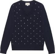 Jacquard Wool V Neck Sweater