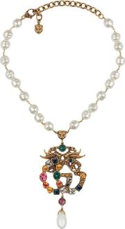 Necklace With Gg Pendant And Multicolor Crystals