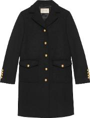 Wool Coat With Gg Martingale