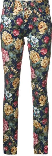Flower Print Denim Jeans