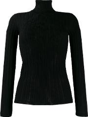 Wool Blend Fitted Roll Neck Top