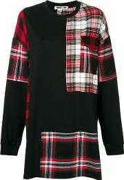 Patched Tartan Tunic Sweater