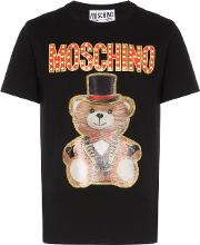 Bear And Glitter Print T Shirt