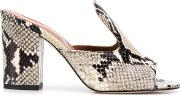 Snake Print Leather Mules