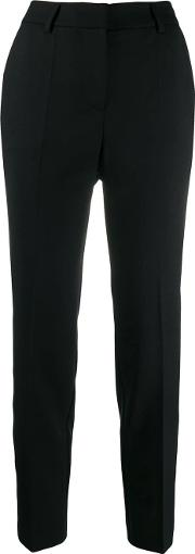 Wool Blend Cropped Slim Fit Trousers