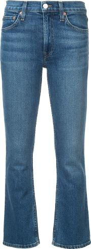 Mid Rise Flare Cropped Jeans