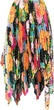 Mix Floral Pleated Skirt