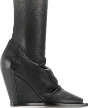 Sock Leather Ankle Boots