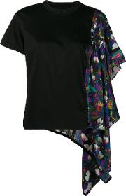 Flower Print One Side Pleated T Shirt