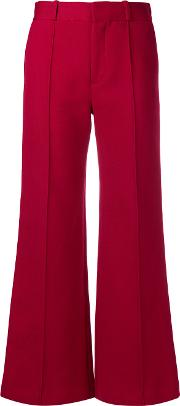 Cotton Blend Flare Trousers