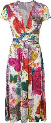 Dress With Butterfly Multicolor Print