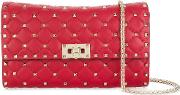 Rockstud Spike Leather Clutch With Chain