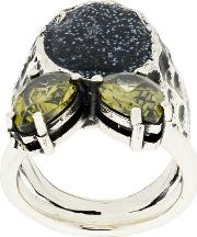 Sigillum Silver Ring With Black Glitter Drops