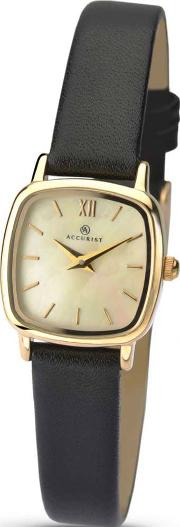 8fa7bbb32 Ladies Gold Plated Mother Of Pearl Dial Black Strap Watch 8101. accurist