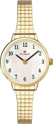 f4bdcb09d Ladies Gold Plated Mother Of Pearl Expandable Watch 8208. accurist