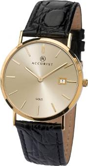 Mens 9ct Gold Champagne Dial Black Leather Strap Watch 7802