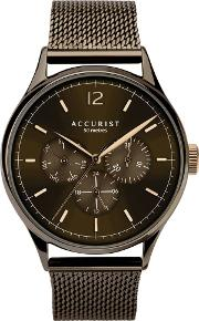 Mens Contemporary Brown Day Date Chronograph Dial Mesh Strap Watch 7286