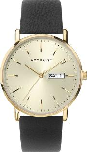 Mens Contemporary Gold Date Dial Black Leather Strap Watch 7297