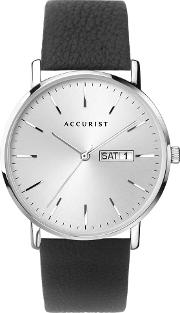 Mens Contemporary Silver Date Dial Black Leather Strap Watch 7296