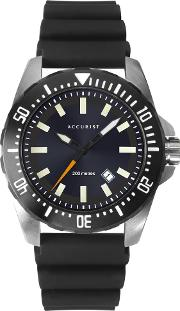 Mens Divers Style Black Date Dial Rubber Strap Watch 7307