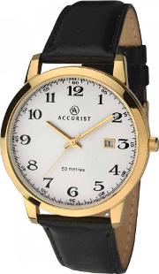 Mens Gold Plated Black Leather Strap Watch 7027