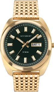 Mens Retro Inspired Gold Plated Green Dial Bracelet Watch 7335