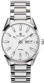 Mens Signature Silver Day Date Watch 7218