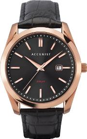 Mens Solar120 Rose Gold Plated Black Leather Strap Watch 7338