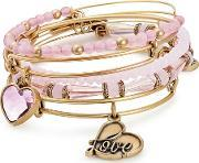 Alive With Love- Gold Finish Pink Bead Five Bangle Set A17setintrg