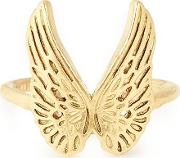 Gold Plated Guardian Angel Wing Adjustable Ring Pc18ergag