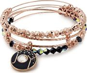 Rose Gold Tone Joy Beaded Set Of 3 Bangles A17sethol054sr