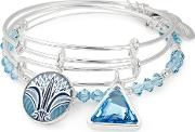 Silver Blue Lotus Set Of Three Bangle A18setblss