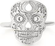 Sterling Silver Calavera Adjustable Ring Pc18ercvs