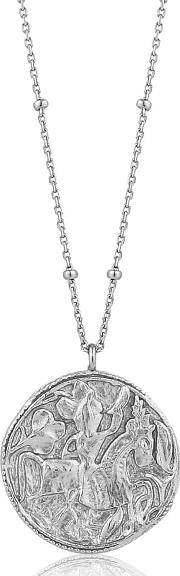 Sterling Silver Beaded Chain Disc Necklet N009 03h