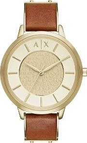 Ladies Gold Plated Brown Leather Strap Watch Ax5314