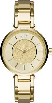 Ladies Gold Plated Logo Collage Bracelet Watch Ax5316